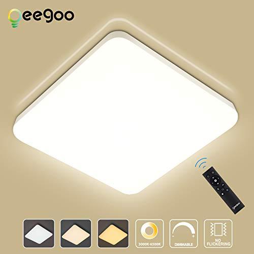 Oeegoo LED Deckenleuchte Dimmbar mit Fernbedienung, 24W 2400Lm LED Deckenlampe, IP54 Wasserfest Badlampe, Farbtemperatur und Helligkeit einstellbar, Flimmerfreie Wohnzimmerlampe Schlafzimmerlampe