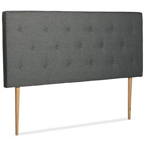IDMarket - Tête de lit scandinave capitonnée Alta 140 cm Tissu Gris foncé