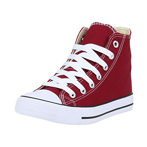 SCARPE VITA Damen Sneaker High Basic Turnschuhe Schnürer Freizeit Schuhe Canvas Stoff Schnürschuhe 173010 Dunkelrot High 40