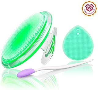 Exfoliating Brush For Razor Bumps and Ingrown Hair Treatment,Nose Cleaning Brush,Soft Silicone Blackhead Scrub Remover Brush,Silicone Face Scrubbers Set - Perfect for Dry Brushing,Body Brush (Green)