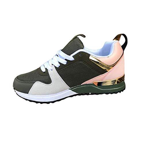 HWTOP Damen Sportschuhe Wedge Sneakers All-Match Outdoor Bequeme Retro Freizeitschuhe Atmungsaktive Outdoor Turnschuhe, Grün, 40 EU
