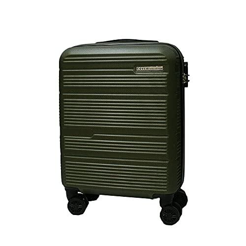 COVERI COLLECTION Trolley rigido utilizzabile come bagaglio a mano, approvato dalla maggior parte delle compagnie aeree low cost, 55 cm, Verde Militare