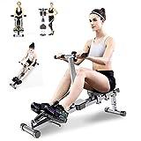HT&PJ Máquina de remo, silenciosa y plegable, con datos de ejercicios, se utiliza...