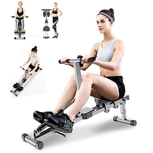 HT&PJ Máquina de remo, silenciosa y plegable, con datos de ejercicios, se utiliza para ejercicios de fitness para toda la familia.