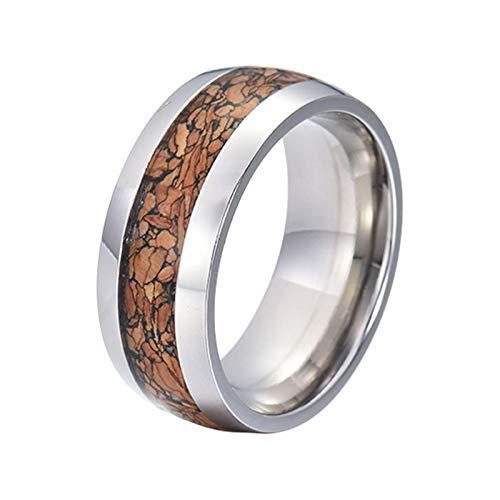 Gualiy Anillos de promesa para hombres, 8 mm de acero inoxidable/tungsteno con incrustaciones de madera para hombres, niño, padre, marido, plateado y marrón,