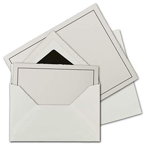 15 Sets Trauer-Papier mit gefütterten Brief-Umschlägen aus echtem Büttenpapier, 105 g/m², naturweiß mit schwarzem dünnem doppeltem Trauer-Rand, Größe B6-17,5 x 21,5 cm