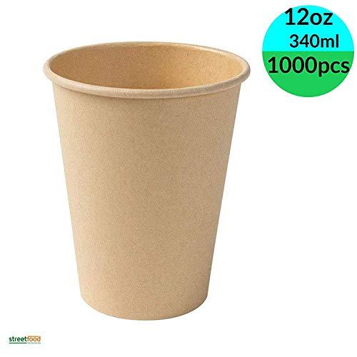 Einweg-Kaffeebecher, Bio-Papier, ungebleicht, isoliert, für Espresso, recycelbar, biologisch abbaubar, Bambus, für Party, Hochzeit und Geburtstag, 340ml / 12oz (1000 pcs.)