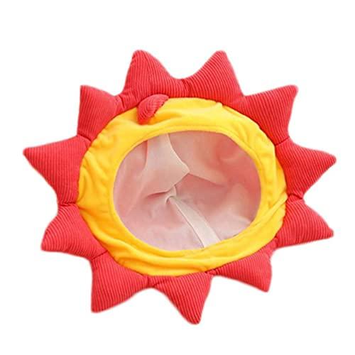 Cartoon-Sonnenblumen-Löwenkopf-Plüschhut, lustig, gefüllte Kopfbedeckung, Partyzubehör, flauschiger Plüsch, warmer Eimer Hut