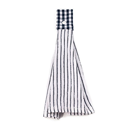 Vimeet 2 Pcs Kitchen Cotton Classical Striped Towel/Absorbent Towel/Hanging Towel/Hand Towel,Blue Stripes