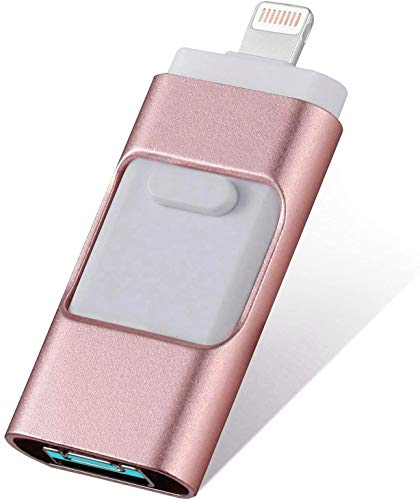 iOS Flash Drive for iPhone 256GB,[3 in 1] iPhone Thumb Drive Memory Stick Storage USB3.0 Photo Picture Stick Jump Drive Mobile for iPhone External Storage/Android/PC/ipad (Pink)