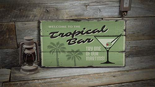 HXshqian 20X34CM Tropical Bar Sign, Tropisch Drink Sign, Drinks Sign, Strand Drinkbord, Houten Verkoop Decor, Houten Lodge Decor - Houten Oude Tekenen Decor