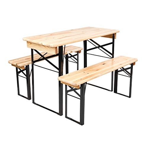Butlers Good Company Bierbank-Set 3-teilig 110x50 cm - Tisch mit 2 Bänken für 4 Personen - Bierzeltgarnitur, FSC-Holz