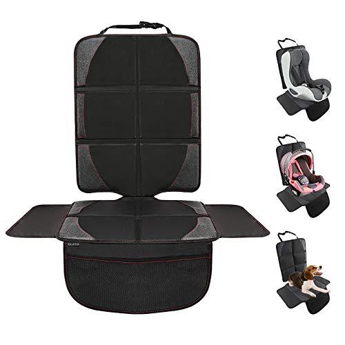 QUEES Kindersitzunterlage, Autositzauflage Autositzschoner kindersitz mit rutschfester Polsterung und Organizer-Taschen, ISOFIX-geeignet und Universal Fit
