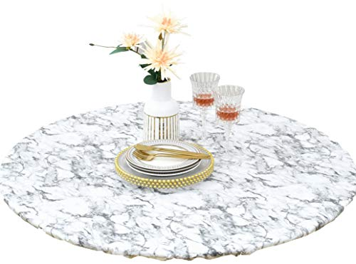 HomeyPlus Round Vinyl Fitted Tablecloth with Flannel Backing, Waterproof Wipeable Table Cover Elastic Edge, Luxury White Marble Pattern, for Round Tables of 43 - 56 Inches, Seats up to 6