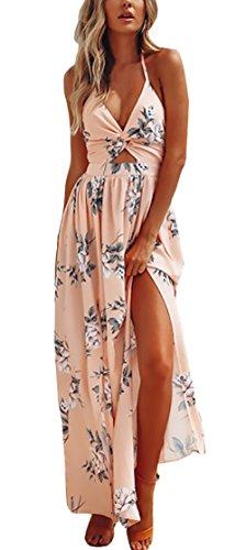 Verano Vestido Floral Mujeres Elegante Moda New Look Modernas Casual Vestido Sin Hombros Entallado Vestido Playa Halter Atado Al Cuello (Color : Apricot, Size : L)