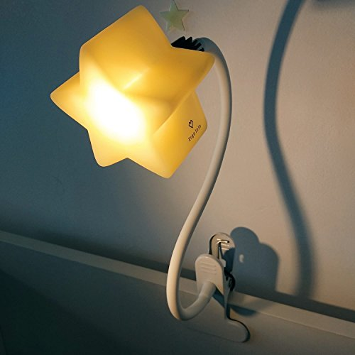 LED Clip-On Star Lamp with 4 Brightness Levels for Kid's Room – Portable Gooseneck Kids Lamps Perfect for Breastfeeding & Reading – Safe & Eco-Friendly Dimmable Night Light & Desk Lamp by ErgoJoJo