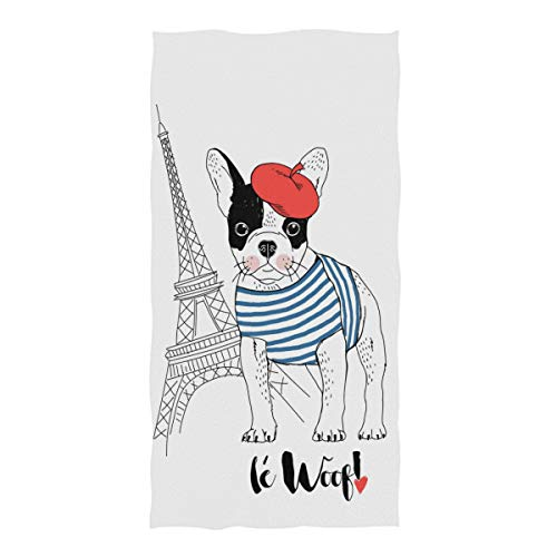 Naanle Chic Cute French Bulldog with Eiffel Tower Soft Highly Absorbent Large Decorative Hand Towels Multipurpose for Bathroom, Hotel, Gym and Spa (16' x 30',White)