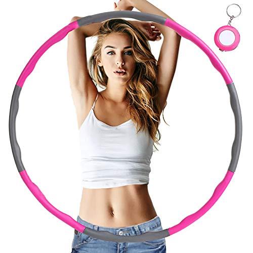 Fresion Hula Hoop Reifen für Fitness - Hoola Hoop Reifen Erwachsene zur Gewichtsreduktion, mit Schaumstoff ca 1,2 kg mit Mini Bandmaß, 6-8 Segmente Abnehmbarer Hula-Hoop-Reifen für Sport Bauchformung