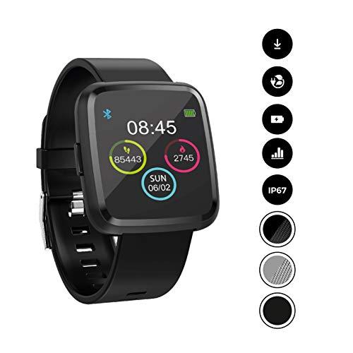 novasmart 【2020 Modell】 runR III Smartwatch Fitness Tracker HD-Farbbildschirm Fitness Armband Uhr mit Pulsmesser, Schlafmonitor, Sportuhr, Schrittzähler für Android und iOS, Sport, schwarz