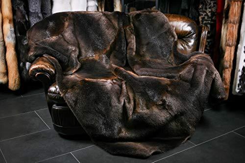 Canadese flanellen deken van 100% organisch echt bont, winterdeken, duurzaam – made in Germany, met rugvoering van 100% wol. (ca. 200 x 140 cm) Donkerbruin, natuurlijk