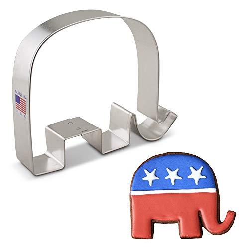 Ann Clark Cookie Cutters Cortador de galletas elefante del Partido Republicano - 11,4 cm - Acero fabricado en EE.UU.