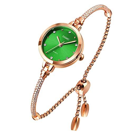 Tonnier Reloj analógico de cuarzo para mujer, con diseño de mosaico con diamantes y pulsera de vestir, para mujer, resistente al agua, con pulsera de oro rosa