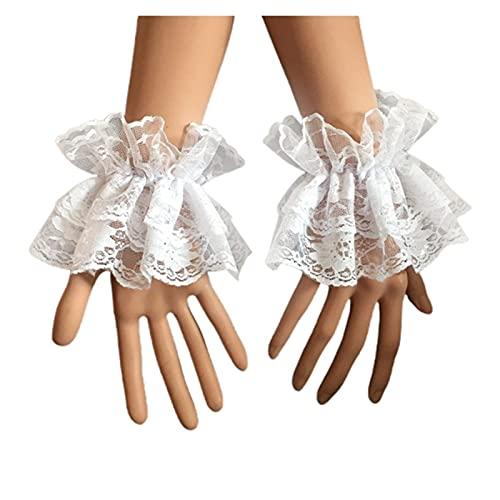 JSJJARF Guantes de Encaje Steampunk Lolita Manguitos de Manga de Mano Muelle de muñeca con Encaje Floral Pulsera elástica (Color : White, Gloves Size : One Size)