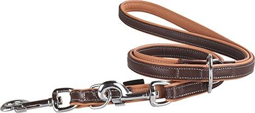 Knuffelwuff Leder Hundeleine Führleine Arcadia mehrfach verstellbar Länge 200cm, Breite 15mm Braun