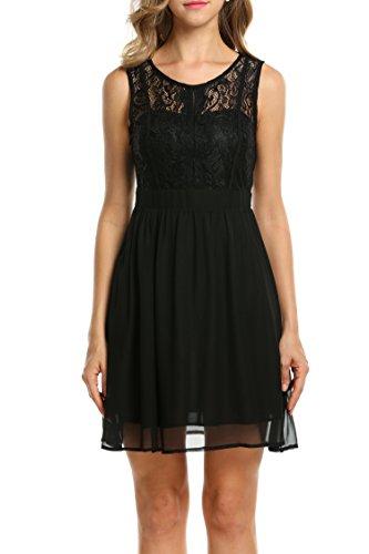 Zeagoo Damen Sexy Kleid Sommer V-Ausschnitt Spitzenkleid Floral Rückenfrei Cocktailkleid Partykleid Skaterkleid (5_Schwarz, M)