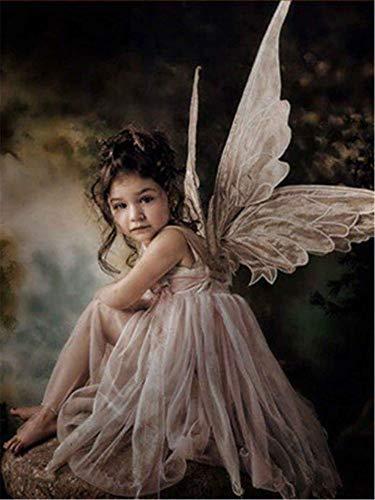 5D DIY diamante pintura princesa taladro completo redondo diamante bordado Ángel imagen de decoración de diamantes de imitación hogar A15 40x50cm