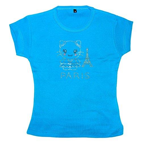 T-Shirt Fille Paris Tour Eiffel Strass - Bleu (2 Ans)
