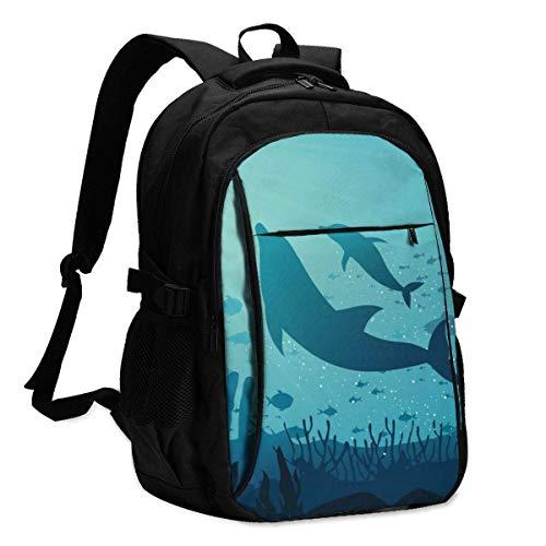 XCNGG Undersea Dolphin Travel Laptop Mochila College School Bag Mochila Informal con Puerto de Carga USB