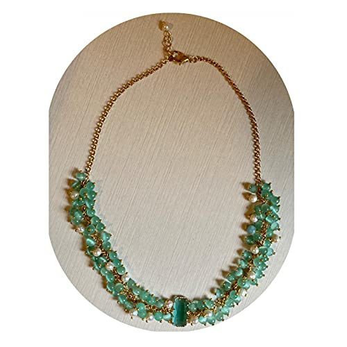 Collana verde in pietre dure e perle di fiume