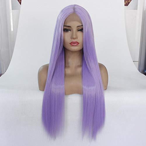 Lichtpaars lang steil haar, 20 inch, front lace half-hand gehaakte hoofddeksel, natuurlijk realistisch haar, steil haar voor mooie vrouwen om deel te nemen aan prom en feest