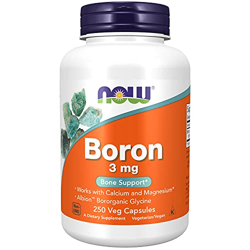 Now Foods | Boron | 3 mg | 250 Kapseln | hochdosiert | ohne Gentechnik | Glutenfrei | Sojafrei | Bor