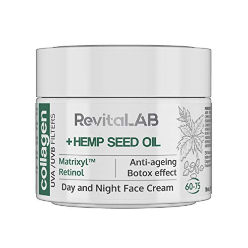 RevitaLAB - Crema hidratante antiarrugas de día y de noche con colágeno enriquecida con ácido hialurónico, Matrixyl® 3000, aceite de semilla de cáñamo y un filtro UVA/UVB, franja de edad 60-75