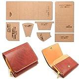 [アイランドパピー] レザークラフト 硬質紙製 型紙 革 長 財布 バッグ カバン 説明シート付き (二つ折り財布コンパクト)