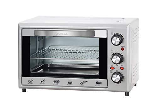 Grunkel - Horno eléctrico multifunción de sobremesa de 28l con 3 funciones de calor y selector de temperatura hasta 230ºC. Temporizador hasta 60 min - 1600W (Plateado)