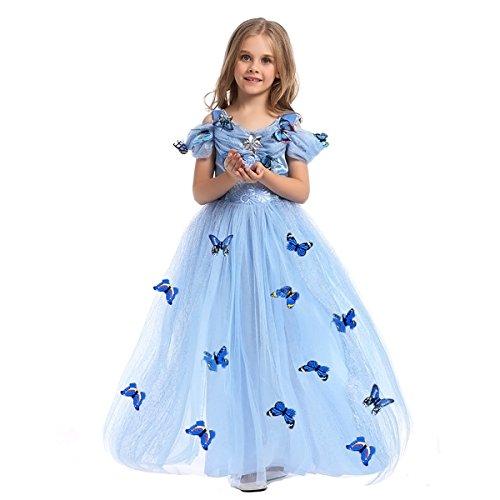 FYMNSI Cinderella Kostüm Kleid für Kinder Mädchen Märchen Aschenputtel Karneval Fasching Prinzessinnenkleid Tüll Maxikleid Halloween Weihnachten Geburtstagsfeier Cospaly Ballkleid Lang Blau 4 Jahre