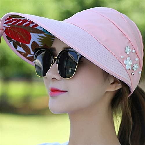 Moda Mujer Verano al Aire Libre Montar Anti UV Sombrero para el Sol Playa Plegable Protector Solar Gorras con Estampado Floral Cuello Cara Sombrero de ala Ancha-a6