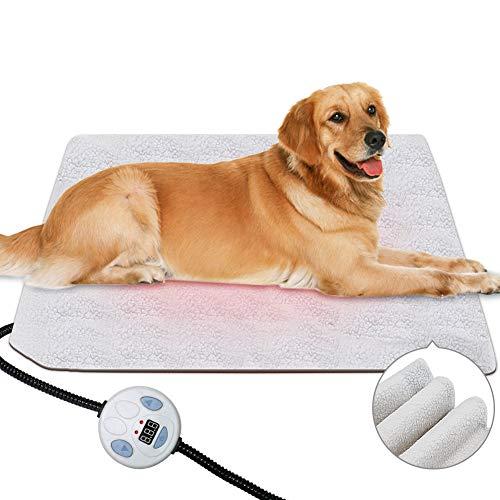 SyCreek Haustiere-Heizdecke für Katzen und Hunde, Pet Heizdecke mit einstellbaren Temperaturreglern, wasserdichte Heizmatte mit Anti-Bruch-Beißrohr und austauschbarer Filzhülle (60 * 45cm)