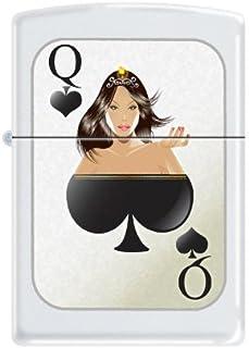 Zippo Lighter - Queen of Spades White Matte