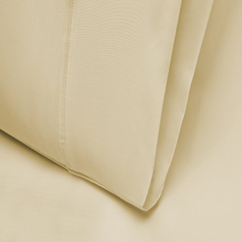 Blue Nile Mills Silky Tencel Blend King/Cal King Pillowcase Set with Button Closure, Ivory
