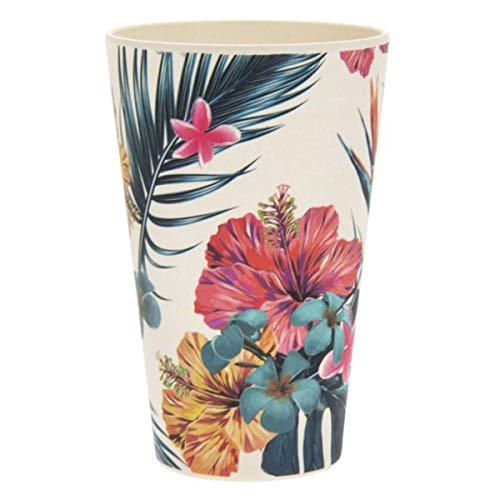 Les Trésors De Lily [Q7396 - Gobelet Verre Bambou 'Tropical' Multicolore - Hauteur 13 cm (435 ML)