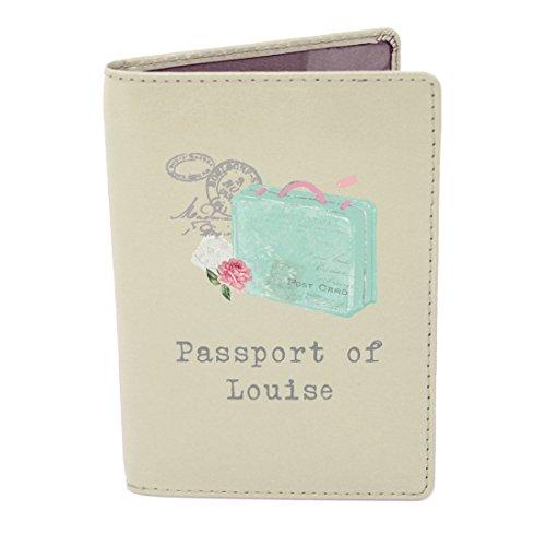 Personalised Gift - Vintage Suitcase Cream Leather Passport Holder