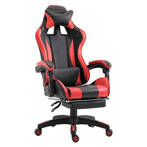 Vinsetto Poltrona da Gaming Ergonomica Reclinabile con Poggiapiedi Estendibile Girevole Ecopelle 66 × 60 × 127-134cm Rosso
