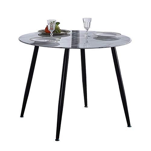 Adec - Suecia, Mesa de Comedor Redonda, Mesa de salón, Medidas: 100cm (Diametro) x 75 cm (Altura). (Mármol y Negro)