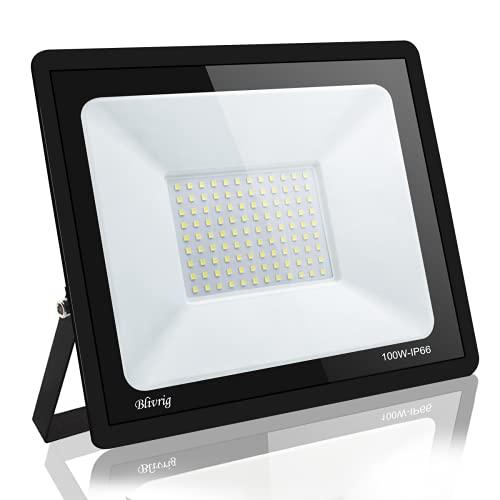 focos led exterior,Blivrig100W LED Foco Exterior de alto brillo,10000LM Impermeable IP66 Proyector Foco LED, Led Foco Exterio para Patio, Camino, Jardín (Blanco cálido, 30W)