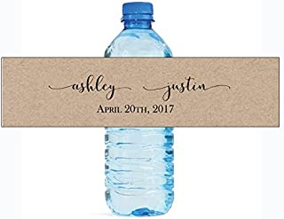 DesignThatSign 100 Kraft Elegance Wedding Anniversary Engagement Party Water Bottle Labels Bridal Shower
