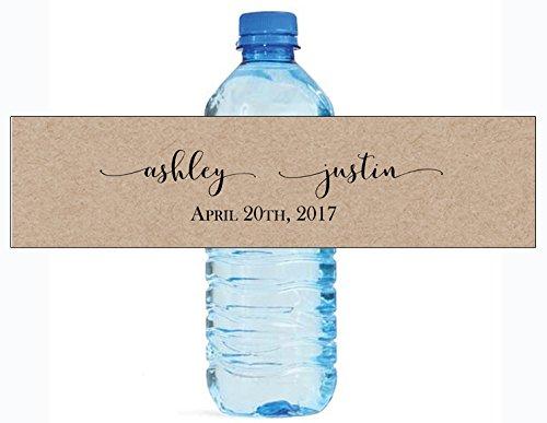 100 Kraft Elegance Wedding Anniversary Engagement Party Water Bottle labels Bridal Shower